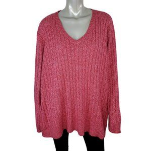 Northcrest Womens Cable Knit Sweater Plus Size 4X